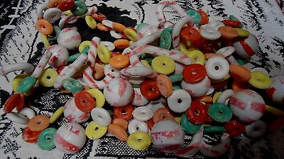16 FEET VINTAGE LOT OF PLASTIC Christmas Frosted Lifesavers Candy Canes Garland