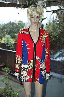 Vintage 80's 90's sun blazer with beaded trim jacket red and blue unique Medium