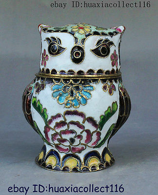 Old Chinese Collectible Lovely Flowers Cloisonne Enamel Double Owl Statue