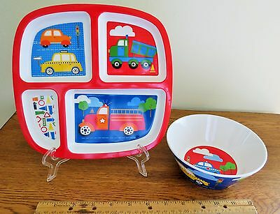 """2 Pc. Set Childs Melamine """"Trucks"""" Plate and Bowl, Primary Colors"""