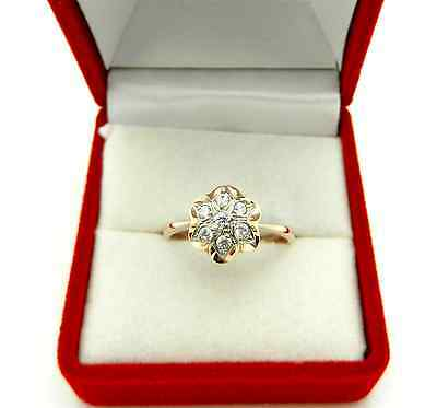 Russian Style Ring 585 (14k) ROSE PINK Clear Cluster CZ Flower Shape Ring