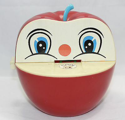 Vintage Apple Bank by Everlast Toys Red Happy Apple Wind-Up Chomping - Hong Kong