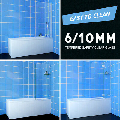 700/800/900x1450mm Over Bath Panel Square Shower Screen Glass with glass shelf