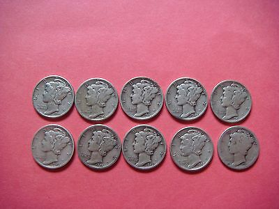 Lot of 10 Mercury Head Dimes very nice old coins 90% Silver  #9379