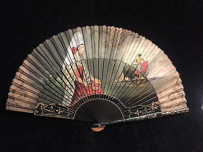Antique Fan - Hand Fan Spanish Lady Bullfighter Handpainted Black Lacquer Gold