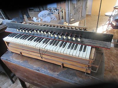 Set Of Antique Pump Organ Stops, Pulls,  Keyboard From 1800's