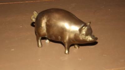 Solid Brass Vintage pig  paperweight