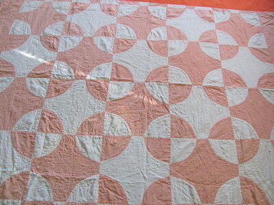 Vintage cotton cutter quilt Snowball design apricot / white hand quilted