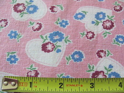 Vintage original cotton feed sack pink blue maroon hearts and flowers design