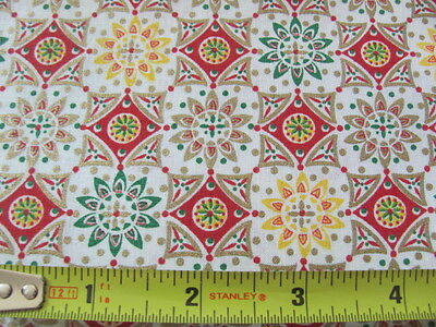 Vintage quilting weight cotton in red yellow gold metallic geometric 35 x 4 yds