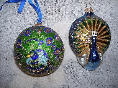 "2 Peacock Christmas Tree Ornaments Enamel Chinese Cloisonne 3"" Ball & 4"" Glass"