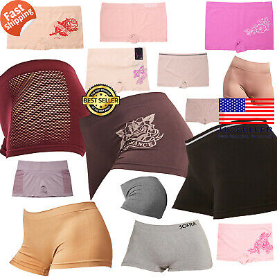 6Pack Women One Size Seamless Print Boy shorts Panties Underwear Boxer Lingerie