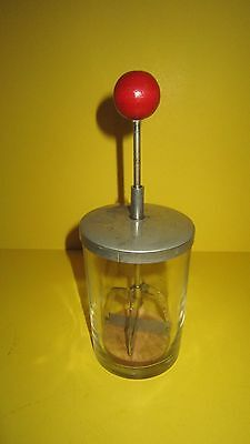 Antique Food Chopper USA Made Red Round Wood Handle Glass Jar Steel Blades Nuts