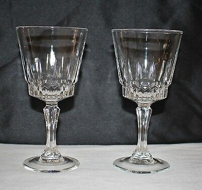 Set of 2 Early Antique Champagne Wine Glasses Embossed Made in France Stemware