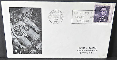 1961 Space Cover AMERICA'S FIRST SPACE FLIGHT FREEDOM 7 Slogan Cancel SCOTT 1177