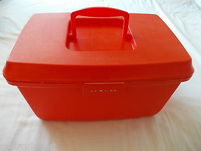 Vintage Retro Orange Singer Sewing Box with Tray Excellent