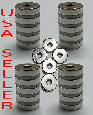 Lot Neodymium Rare Earth Magnet Strongest N50 Round Ring 15 x 4 mm  w/ 5 mm hole