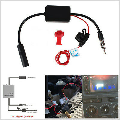 12V Car SUV Truck Stereo Antenna FM AM Radio Inline Signal AMP Amplifier Booster