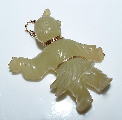 Old or Antique Chinese Carved Hardstone Boy Figure Pendant