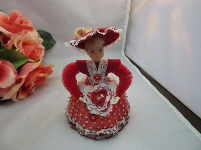 Vtg 1970's hand made sequin, styrofoam  doll. Valentine's Day. February. Heart