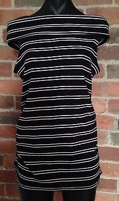 Black And White Striped Off The Shoulder Maternity Sleeveless Top. Size 12, NWT