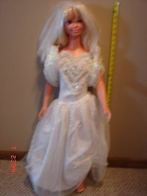Large Vintage Child My Size 36 Inch Barbie Doll White Dress Gown Mattel 1976