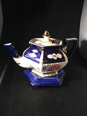 Antique Vintage Arthur Wood Queen A W & S Imari Tea Pot And Stand