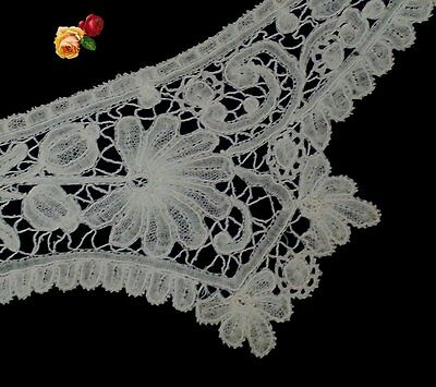 Vintage Victorian Floral Tape Lace Trim Leaves Flower Pods White Cotton Scallop