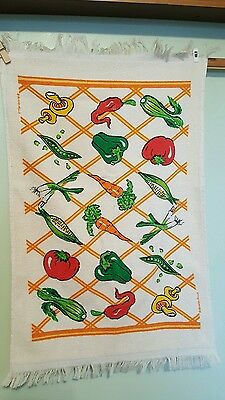 Retro Orange Design With Vegetables Cannon Terry Cloth Kitchen Towel W/ Fringe