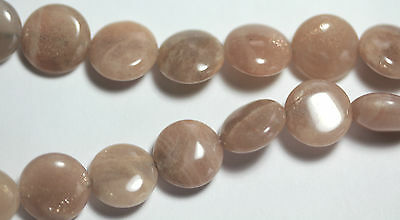 Moonstone (Natural) Peach/Grey Coins 12 mm  - Full Strand