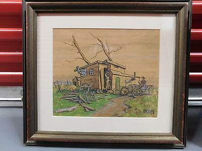 Early automobile painting by Fred. Bock, Wisconsin, Minnesota & New York artist!