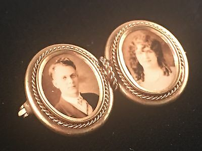 Antique Victorian 10k Yellow Gold Double Photo Mourning Sweetheart Brooch