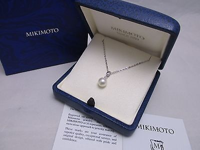 New! Mikimoto Pearl Sterling Silver Single 7.5MM Akoya Pearl Pendant Gift Wrap