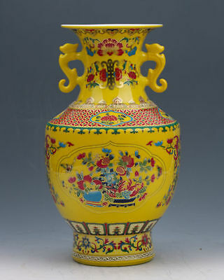 Chinese Collection Colourful Porcelain Painted Vase w Qianlong Mark