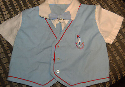LITTLE BOY'S VINTAGE EMBROIDERED SHIRT WITH BOW 50's? infant toddler USA Free SH