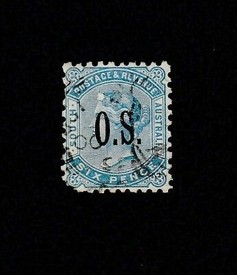 1884-1901 SA 6d blue Second Sideface overprinted OS. fine used