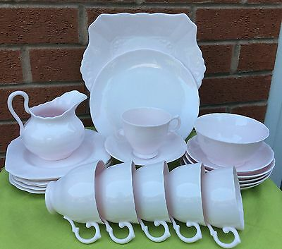 Tuscan fine English china pale baby pink tea set 22 items