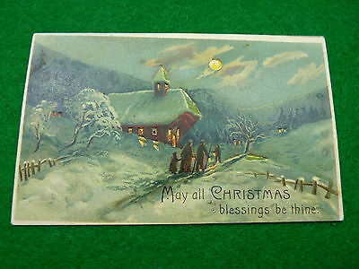 Christmas Postcard Snow Scene May all Christmas Blessings Be Thine Sent 24/12/13
