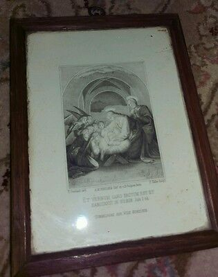 Beautiful antique engraving minature framed in oak frame THE NATIVITY
