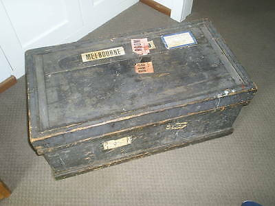 Victorian Carpenters Chest complete with shipping tags. True industrial piece.