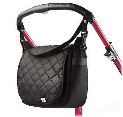 Quilted Maternity Changing Nappy Bag Pram Shoulder Black