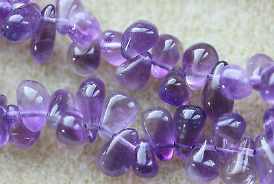 Amethyst (Brazilian) Purple - Top Drilled Smooth Drops 7-9mm - Full Strand