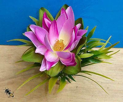 Aquarium Ornament Lotus Silk Flower Plant Fish Tank Bowl Decoration Purple New