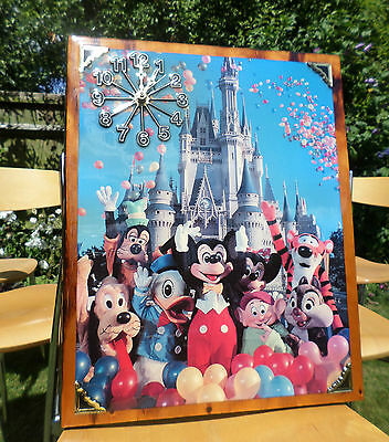VINTAGE large Disney Mickey Mouse  Goofy Minnie Mouse wall picture art  clock