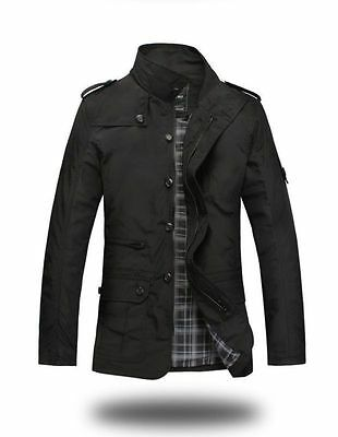 Mens Slim Fit Zip Button Collar Jacket Coat Military Style Casual Overcoat Black