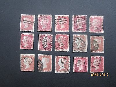 GB STAMPS - QV - RANGE OF 1d REDS - PLATES AND STARS - MIXED USED - UNCHECKED