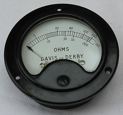 Moving Coil Meter, 10mA FSD, Scale 0 - 300 Ohms, GWO, Badged For David of Derby