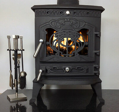 "CASTMASTER 6-7kw ""JULIETTE"" SS LOG WOOD BURNING MULTI FUEL CAST IRON STOVE"
