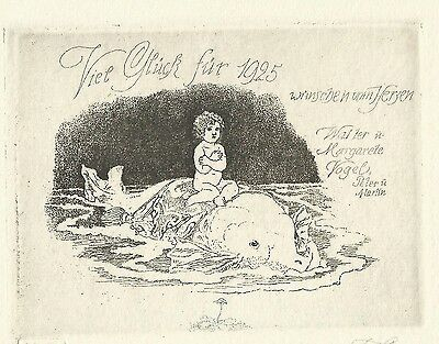 PF 1925 Ferdinand Staeger Nude Girl Whale New Years Card Etching c3 Meerestier