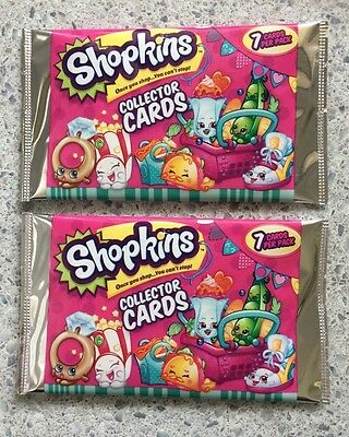 Shopkins Collector Cards 2 Packets Each Pack-Contains 7 Cards-Shopkins